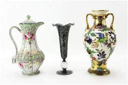 Nippon Chocolate Pot and Two Vases