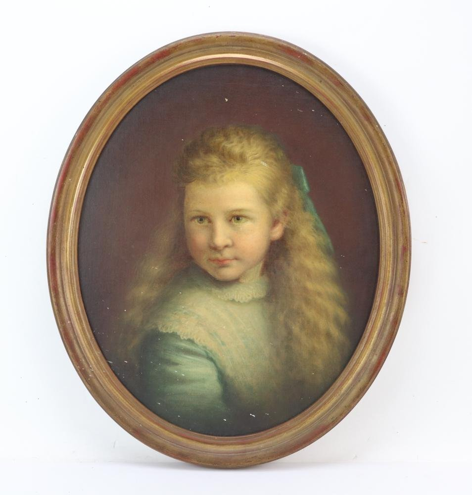Oval Oil on Canvas Portrait of Young Girl