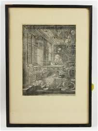 Albrecht Durer Engraving St Jerome in His Study