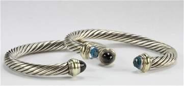 Two David Yurman Sterling Cable Bracelets