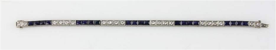 1930s Platinum Diamond and Sapphire Bracelet