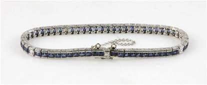 Platinum Natural Sapphire and Diamond Bracelet