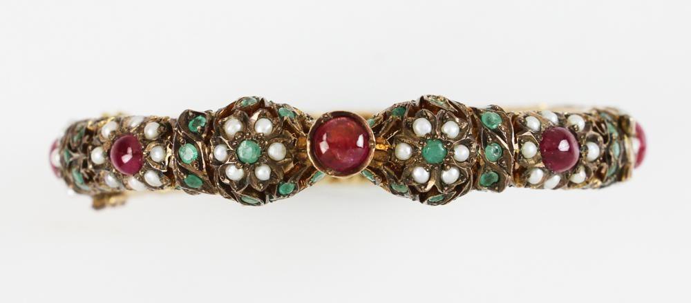 14k Gold Indian Bangle with Gemstones