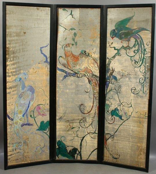 3002: 3-Panel Screen, Hand-Painted, E. Huntington