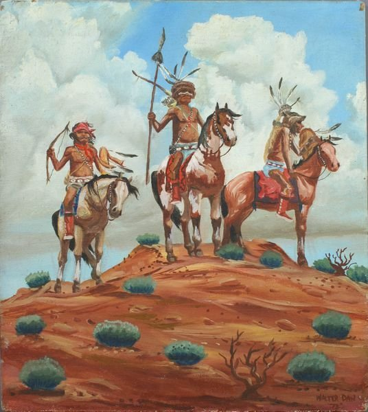 3008: Walter Dan, Native Americans on Horseback, o/c