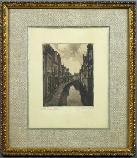 3011: 19th C. Engraving of a European Street w/ Canal