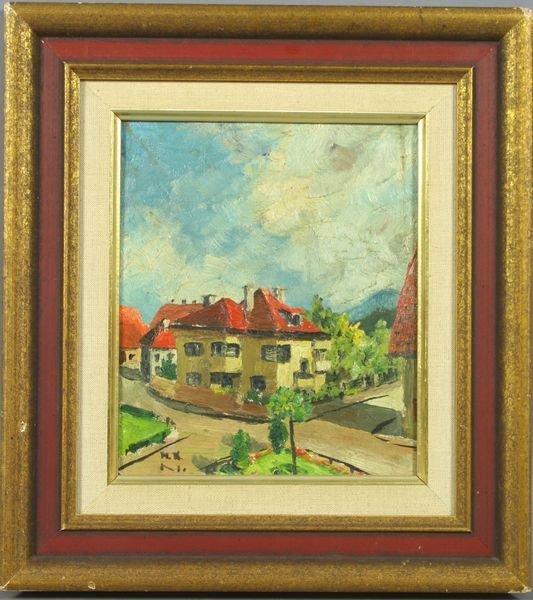 3014: 20th Century, Village Scene w/ Red Roof, o/p