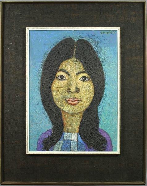 3016: Signed G. Dezgalis, Portrait of a Woman, o/c
