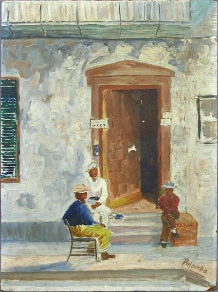 3017: Signed Palombo, Men Sitting in Doorway, o/b
