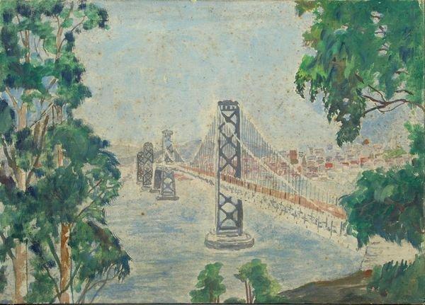 3018: Scene of Bridge, Oil on Canvas Panel