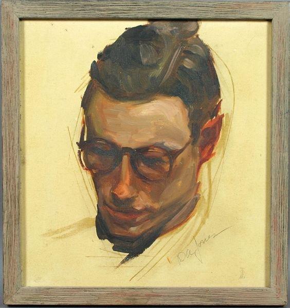 3020: Signed D.A. Jones, Portrait, Oil on Canvas Panel