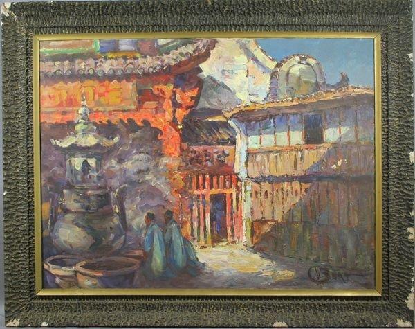 3021: Asian Street Scene, o/c, Signed Indistinctly
