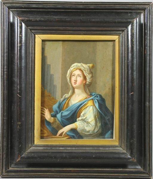 3024: 18th C. Italian Portrait of St. Cecilia, Oil/Copp