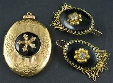 3118 Victorian 3Pc Suite of Black Enamel Jewelry