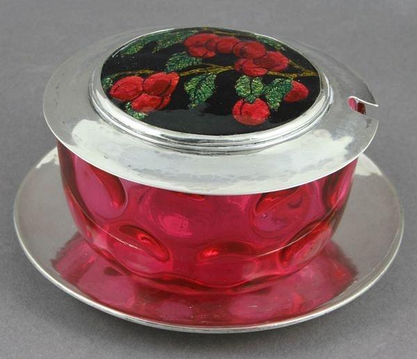 3277: Early 20th C. Cauman SS Cranberry Glass Bowl