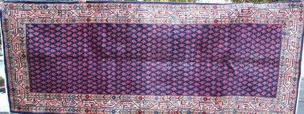 "4012R: Fine Persian Rug, 9' 3"" x 3' 7""."