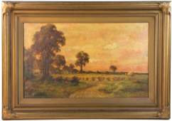 A. M. Grinnell Farm Scene Oil on Canvas