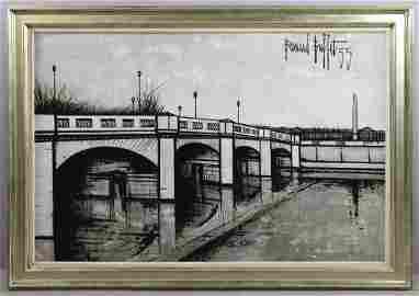 Bernard Buffet, Bridge Over Seine River, Oil on Canvas