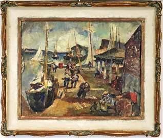 William Meyerowitz, Oil on Canvas, Gloucester Boats