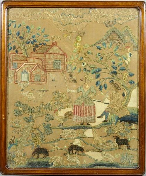 1118: 18th C. Needlework Pictorial Scene, Framed