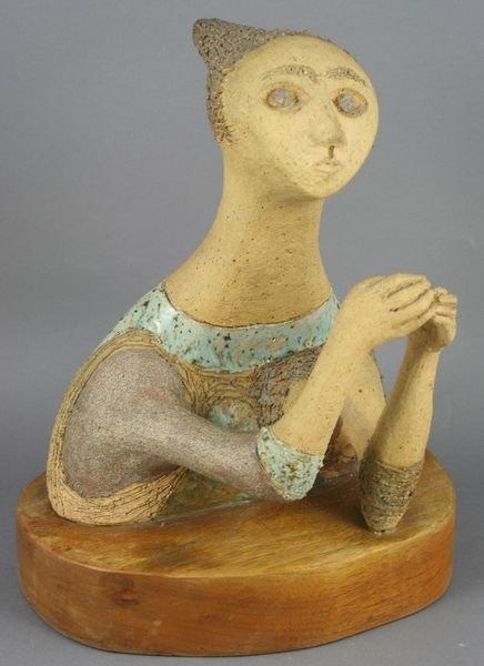 1003: Rosemary Zwick Stoneware Figure of a Woman