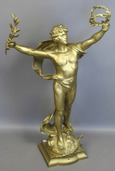 1004: 19/20th C. Statue of Male, Signed Louis Moreau