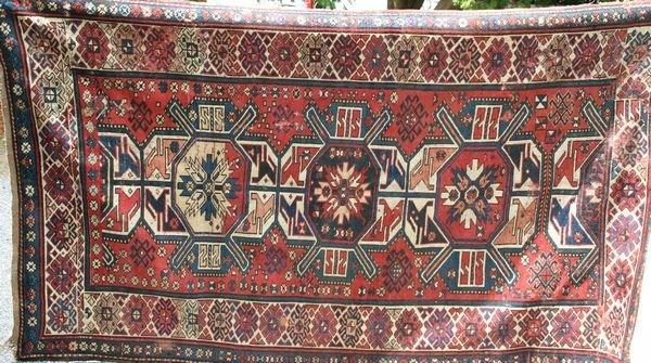 """1006: 19th Century Eagle Kazak Rug, 7' 5"""" x 4' 3"""""""