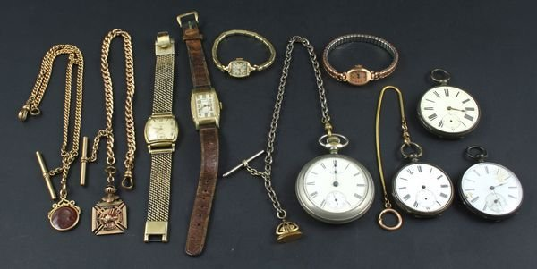 1008: Lg Group of Watches, Pocket, Elgin, Waltham