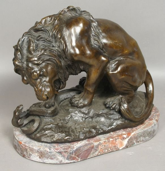 1015A: 20th C. Bronze Sculpture of Lion and Snake