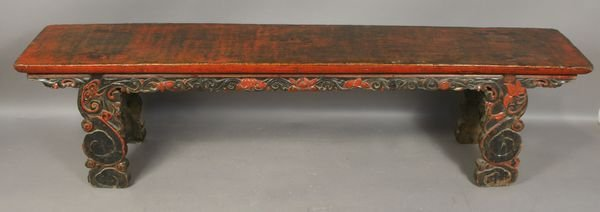 1015B: 19th C. Chinese Carved and Painted Bench