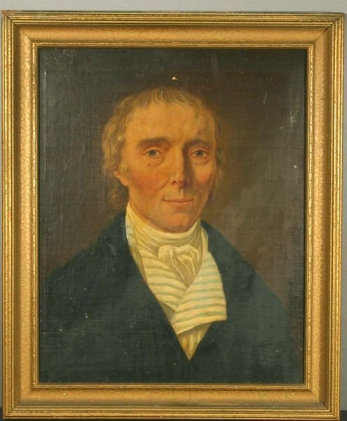 1021: 19th C. American School, Portrait of Young Man