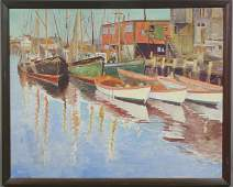 1075A: Cape Ann School, Gloucester Boats at Dock, o/c