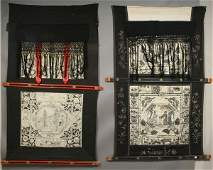 1380 19th C Chinese Painted Linen Wall Hangings