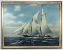 J W Schmidt Signed Schooner Yacht America OC