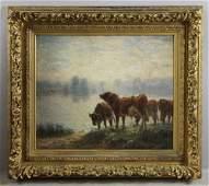 C F Pierce Cows Grazing Oil on Canvas