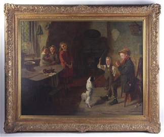 J G Brown, Interior with Children, Oil on Canvas