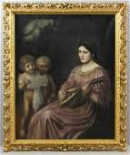 Dante Rossetti Woman and Children Oil on Canvas