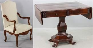 French Armchair with Biedermeier Sofa Table