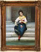 After Eugene de Blaas, Woman Seated, Oil on Canvas
