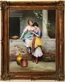 After Eugene de Blaas Two Women Oil on Canvas