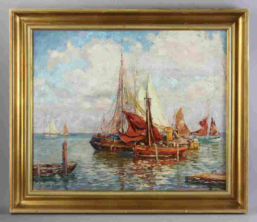 Signed Jane Peterson, Sailboats in Harbor
