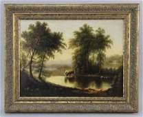Signed W Whittredge River Landscape