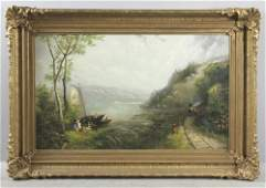 Signed JF Cropsey, Lakeside Scene with Train