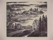 298: SIGNED CARROLL THAYER BERRY MAINE COAST WOODBLOCK