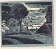 300: SIGNED CARROLL THAYER BERRY ROCKPORT ME WOODBLOCK