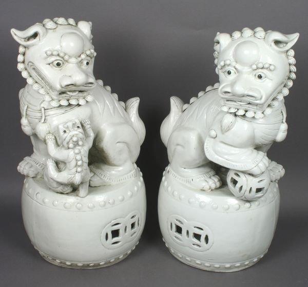2004: 20th C. Chinese Blanc de Chine Foo Dog Barrels