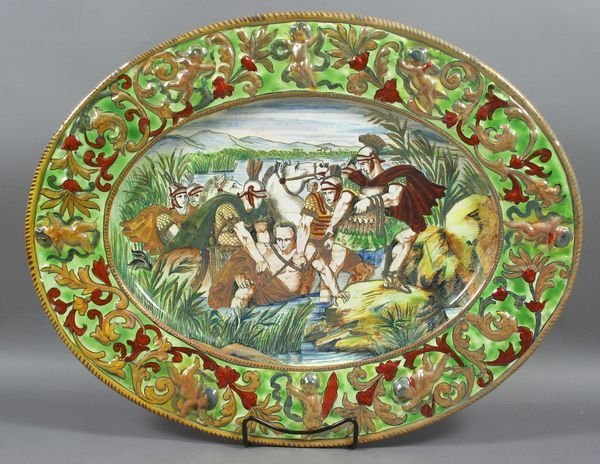 2010: Italian Majolica Hand-Decorated Charger, Signed