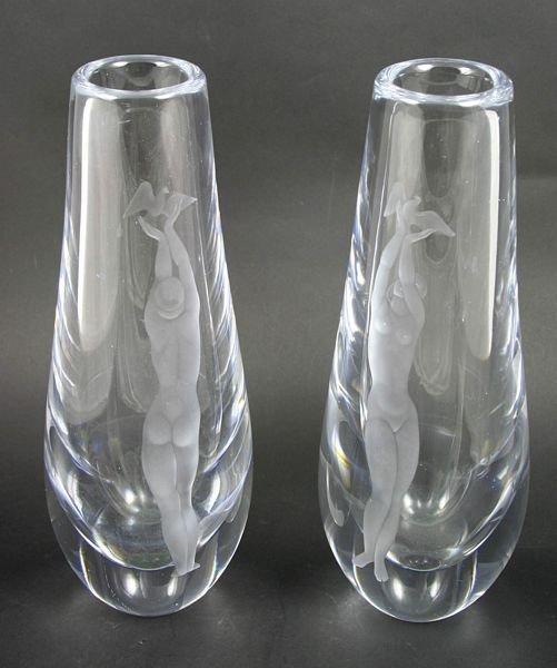 2016: Pair of 1940s Orrefors Crystal Vases w/ Nudes