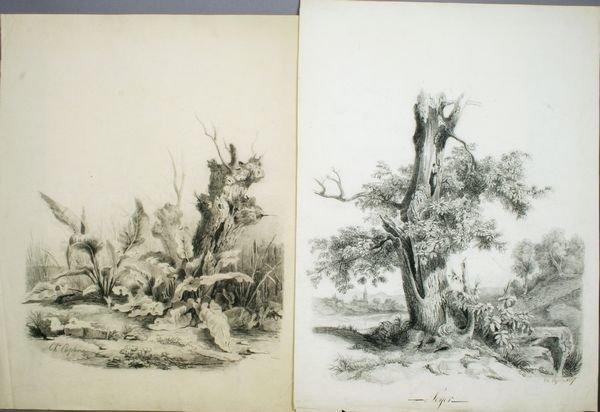 2021: (2) 19th C. Charcoal Drawings, Charles Caplin