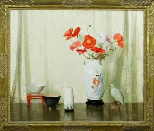 2064: Signed Hermann Dudley Murphy, Poppies, o/c